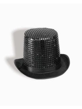 Sequin Top Hat Adult Black