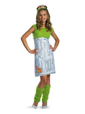 Sesame Street Oscar the Grouch Girls Tween Costume Size XL