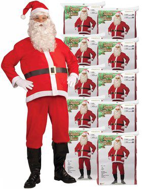 Set of 10 Adult Disposable Santa Claus Costume