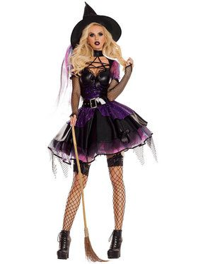 Sexy Classic Amethyst Pentagram Witch Costume
