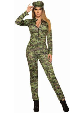 Sexy Army Jumpsuit And Hat Adult Costume
