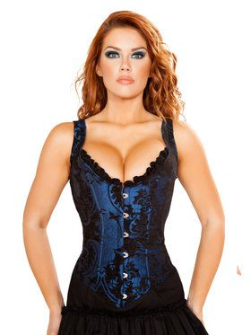 Sexy Black and Silver Brocade Corset with Ruffle Trim & Lace up Back Costume
