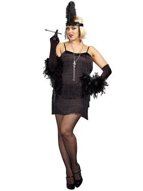 Sexy Black Flapper Women's Plus Size Costume