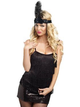 Sexy Black Fringe Top Women's Costume