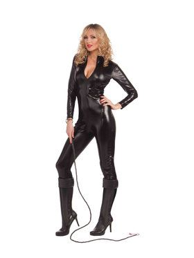 Sexy Black Metallic Catsuit Womens Costume