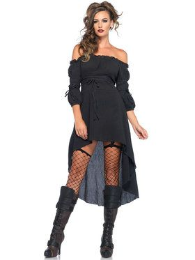 Sexy Black Peasant Dress Women's Costume