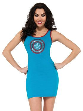 Sexy Captain America Rhinestone Tank Dress Womens Costume