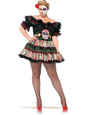 Sexy Day of the Dead Doll Plus Women's Costume