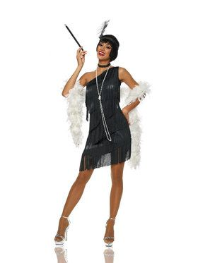Sexy Dazzling Flapper Black Womens Costume