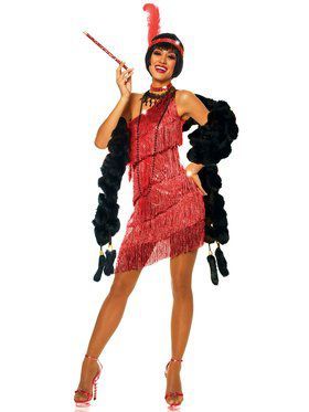 Sexy Dazzling Flapper Red Women's Costume