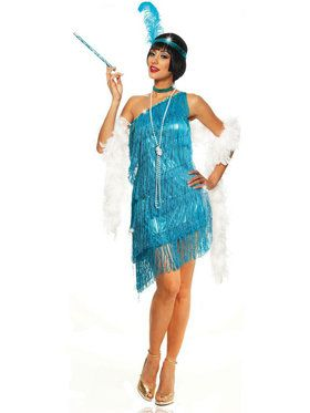 Sexy Dazzling Flapper Turquoise Women's Costume