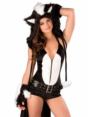Sexy Flower Skunk Romper Adult Costume