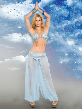Sexy Light Blue Heavenly Genie Adult Costume