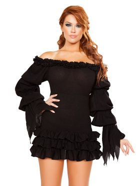 Sexy Ruffled Pirate Dress with Sleeves & Multi Layered Skirt Costume