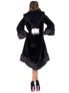 Sexy Satin lined faux fur coat Women's Costume