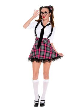 Women's Adult Sexy School Girl High Class Nerd Costume