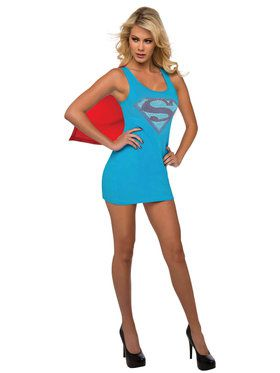 Sexy Supergirl Rhinestone Tank Dress Womens Costume