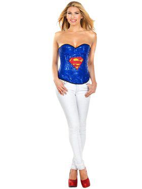 Sexy Supergirl Sequin Adult Corset Costume