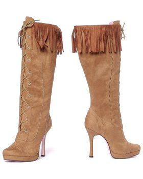 Sexy Tan Knee High Indian Fringe Boot