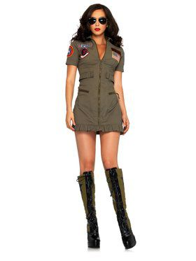 Sexy Top Gun Flight Dress Adult Costume