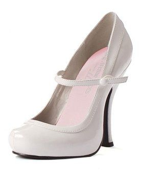 Sexy White Patent Mary Jane Shoe