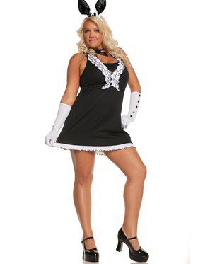 Sexy Women's Black Tie Bunny Plus Costume