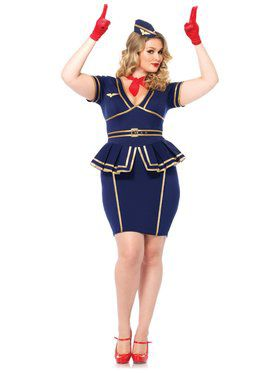 Sexy Women's Friendly Skies Flight Attendant Plus Size Costume