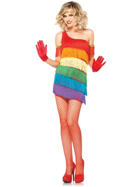 Sexy Women's Rainbow Flapper Costume