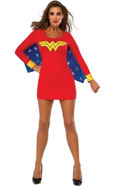 Sexy Wonder Woman Cape Dress Womens Costume