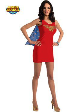 Sexy Wonder Woman Rhinestone Tank Dress Womens Costume
