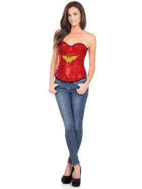 Sexy Wonder Woman Sequin Adult Corset Costume