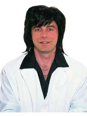 Shag Mens 1970's Black Wig