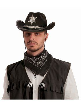 Sheriff Hat With Silver Band Accessory