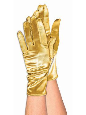 Short Gold Accessory Satin Gloves