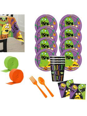 Silly Halloween Monsters Deluxe Tableware Kit (Serves 8)