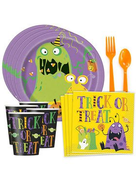 Silly Halloween Monsters Standard Tableware Kit (Serves 8)