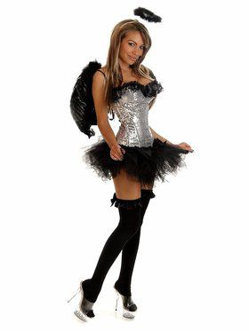 Silver & Black Sequin Angel Adult Costume