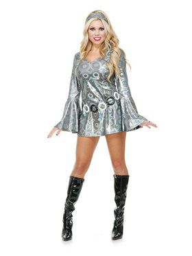 Women's Silver Circles Disco Queen Costume