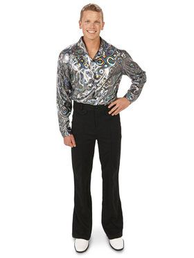 Silver Disco Shirt Costume For Adults