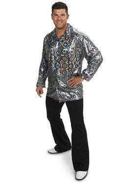 Silver Disco Shirt Adult Plus Costume