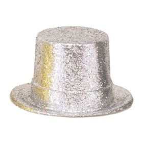 Silver Glitter 5 Plastic Top Hat (each)