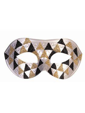Silver Gold and Black Checkered Adult Half Mask