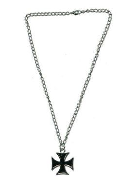 Silver Necklace with Black Cross