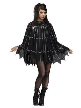 Silver Spider Web Poncho Costume For Adults
