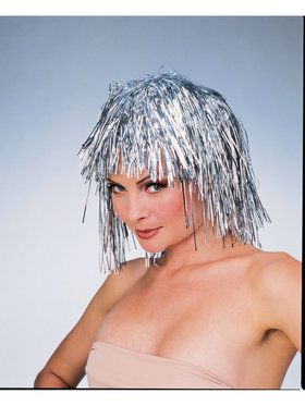 Silver Tinsel Adult Wig