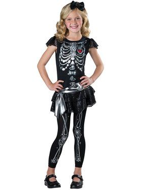 Skeleton Bling Girl's Costume