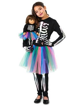 Skeleton Tutu Child Costume with Matching Doll Costume