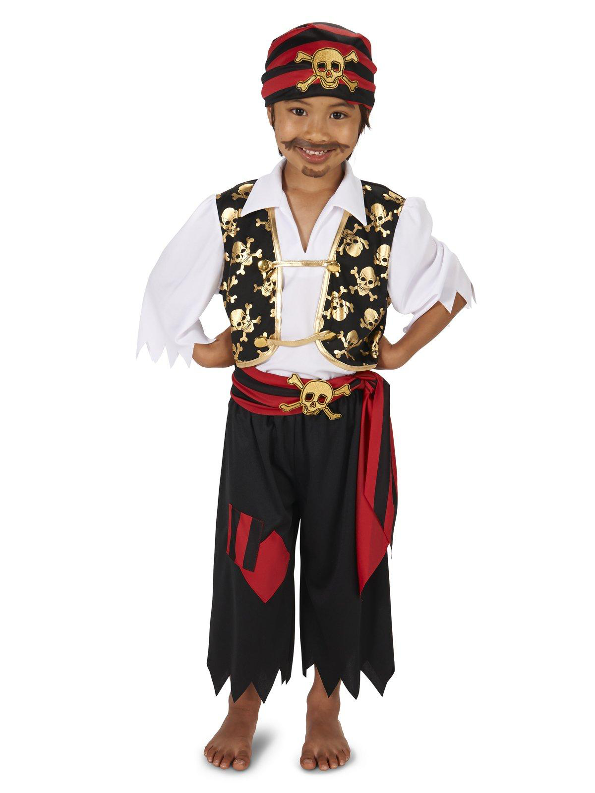 Skull Print Vest With Patched Pants Pirate Child Costume