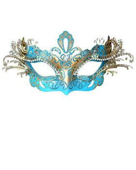 Sky Blue Laser Cut Metal Party Mask