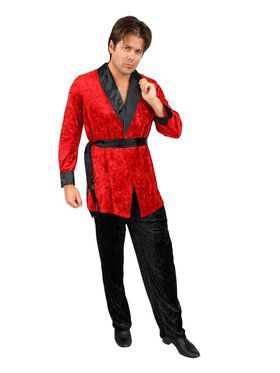 Men's Velvet Smoking Jacket with Belt Costume